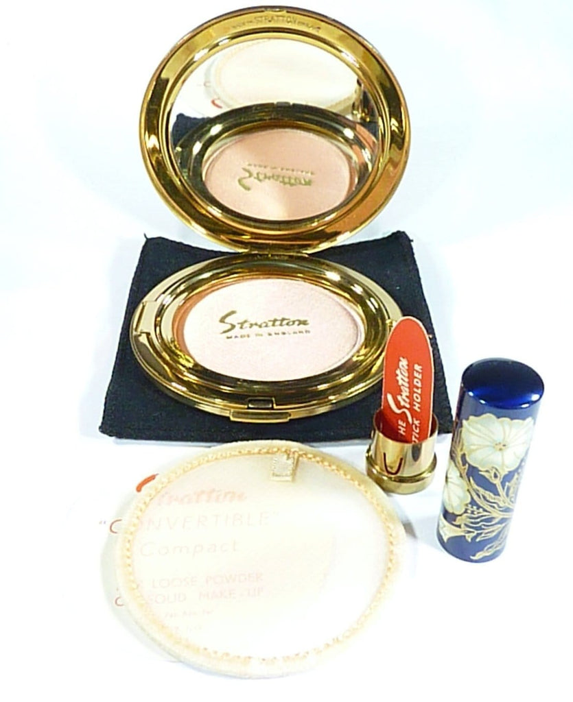 Unused Vintage Compact And Lipstick Holder Set