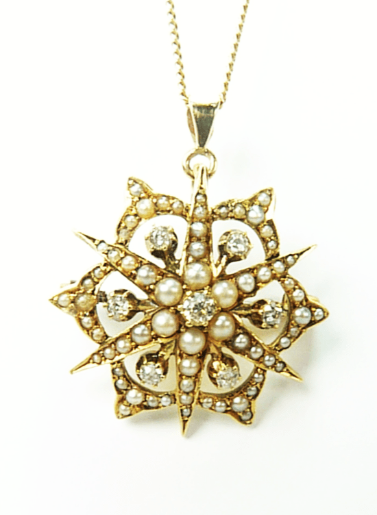Victorian Celestial Gold Pendant With Hallmarked Gold Necklace.