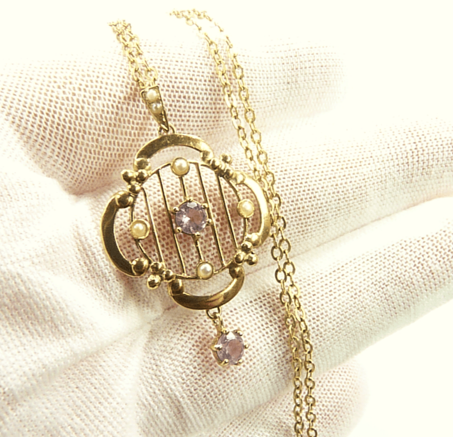 Art Nouveau Gold Pendant With Seed Pearls.