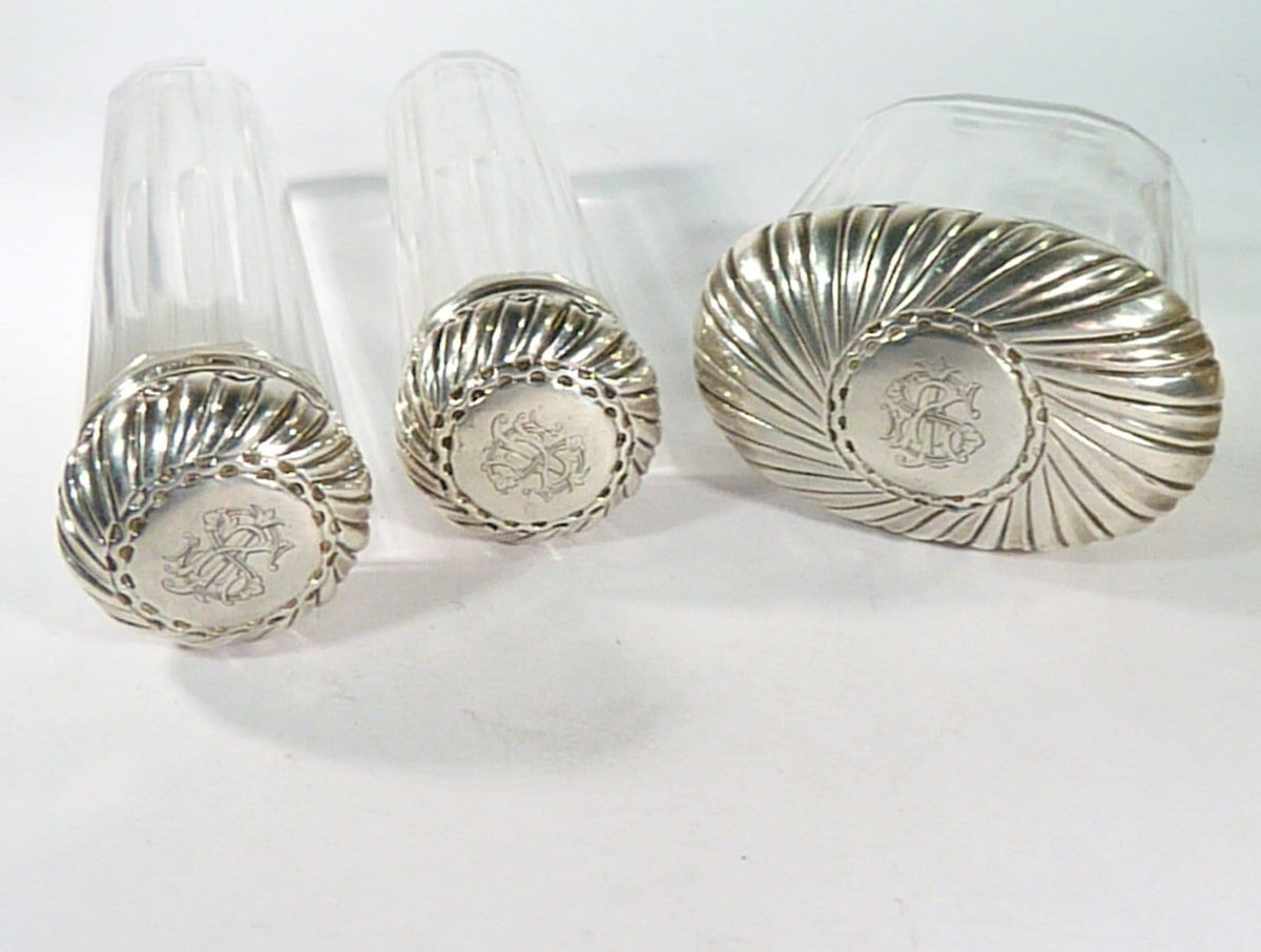 Victorian Silver Topped Dressing Table Vanity Jars 1899 Finnigans