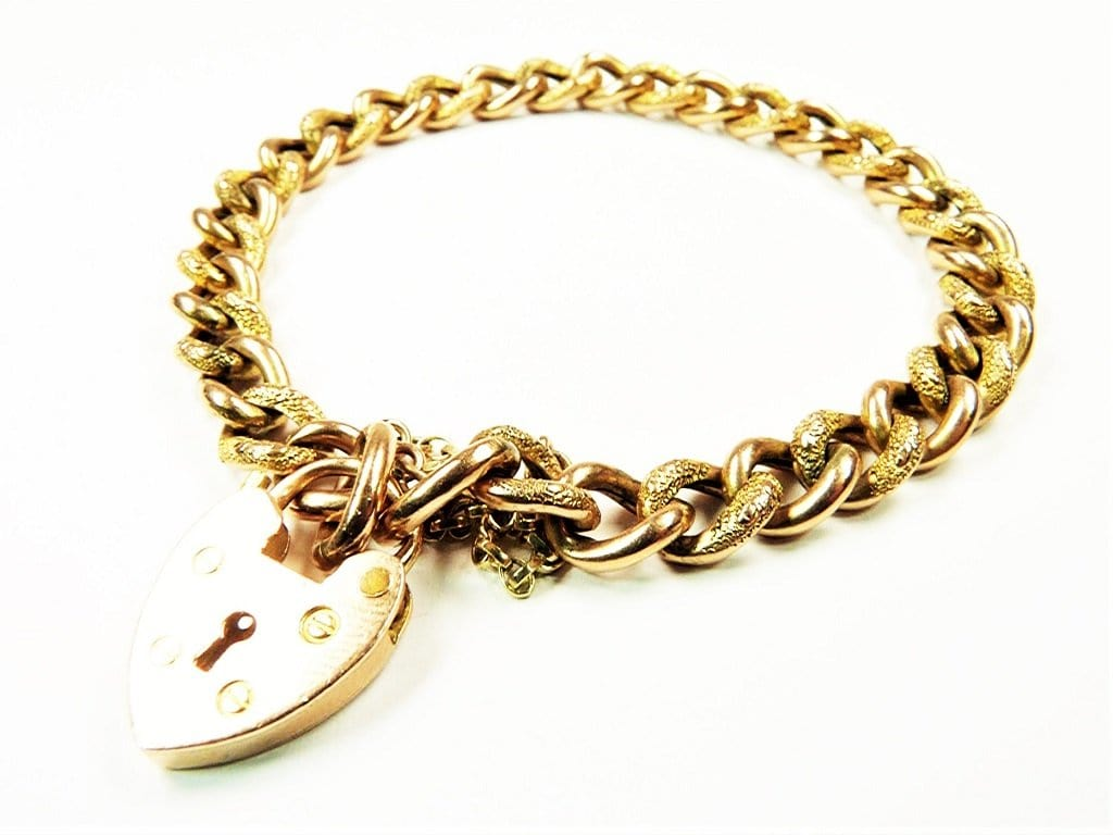 Victorian_Hallmarked Gold Bracelet With Heart Padlock