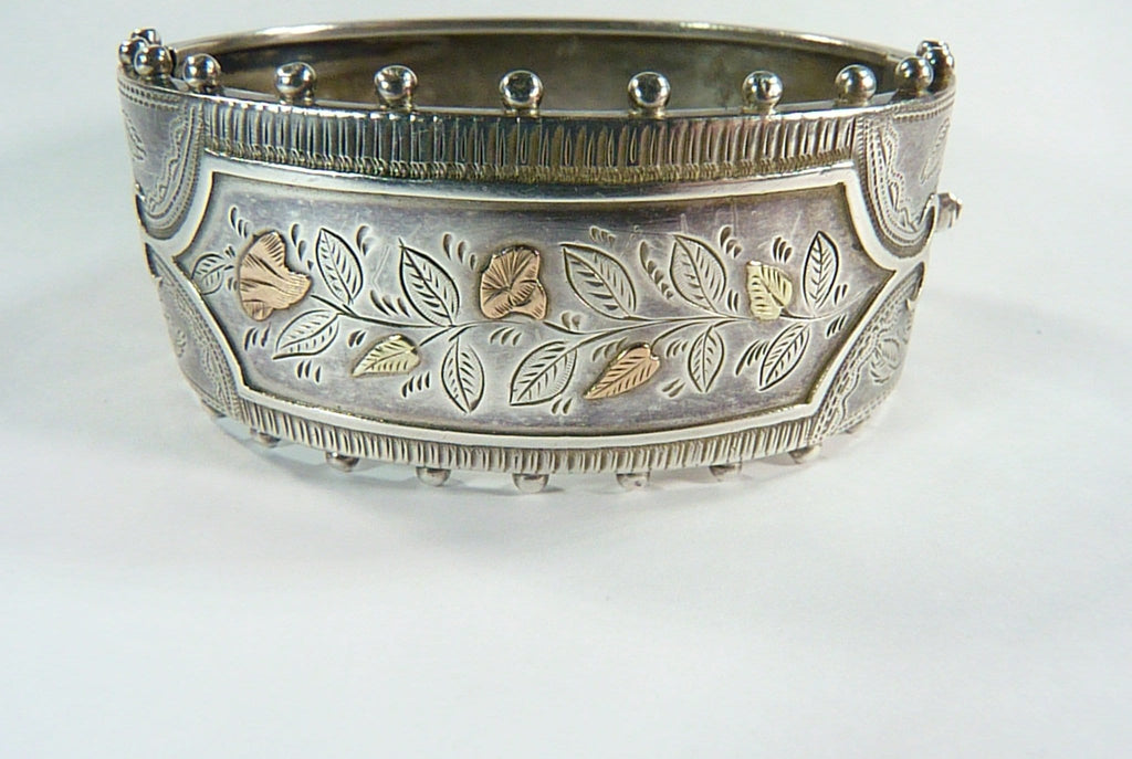 Victorian Hallmarked Silver And Gold Bracelet
