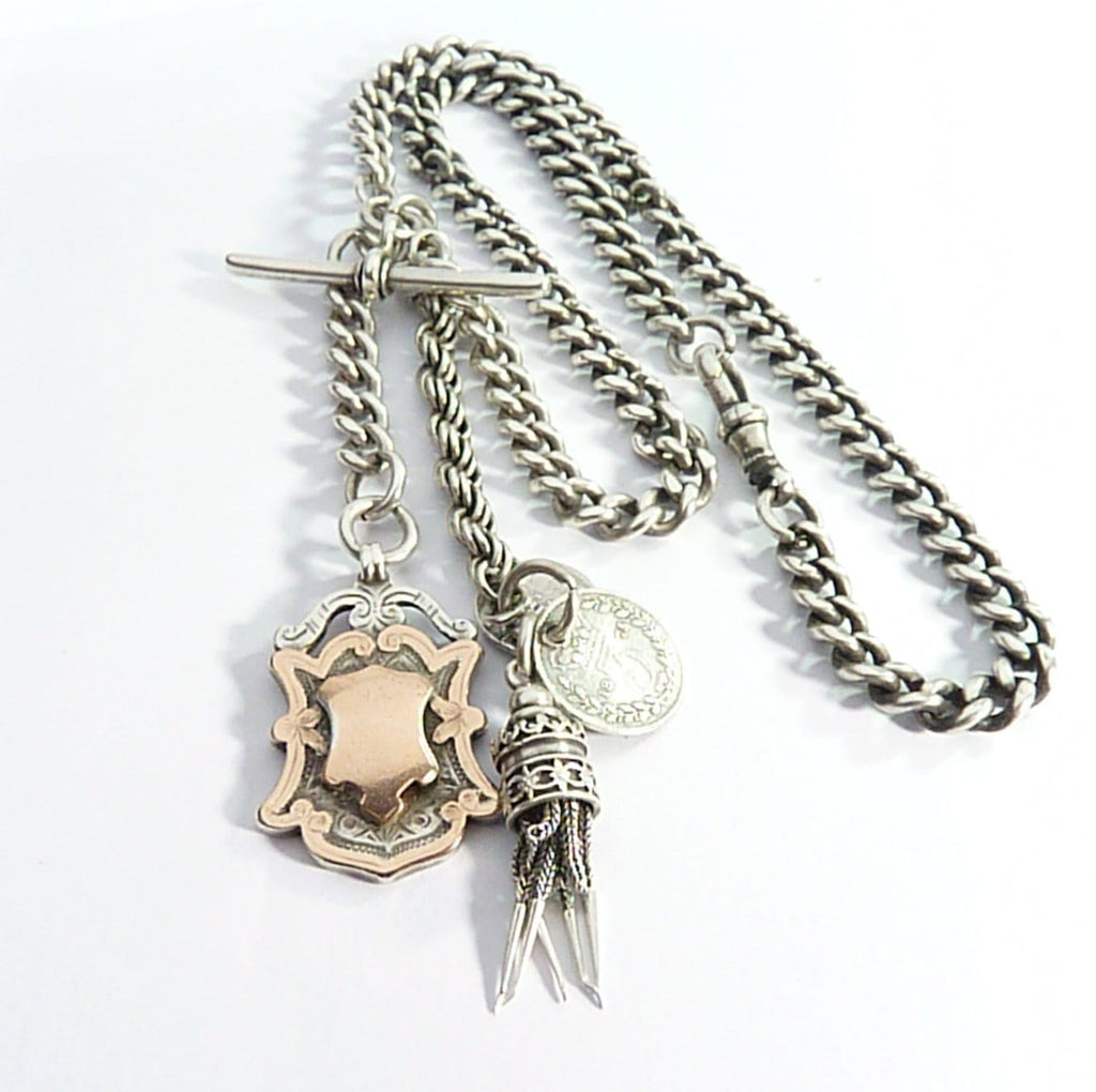 Victorian Hallmarked Sterling Silver & Rose Gold Albert Chain Necklace