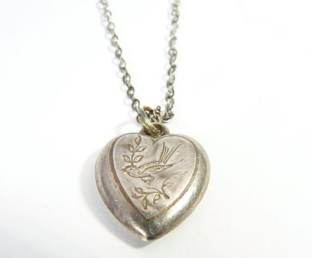Victorian Sterling Silver Heart Pendant With Belcher Chain