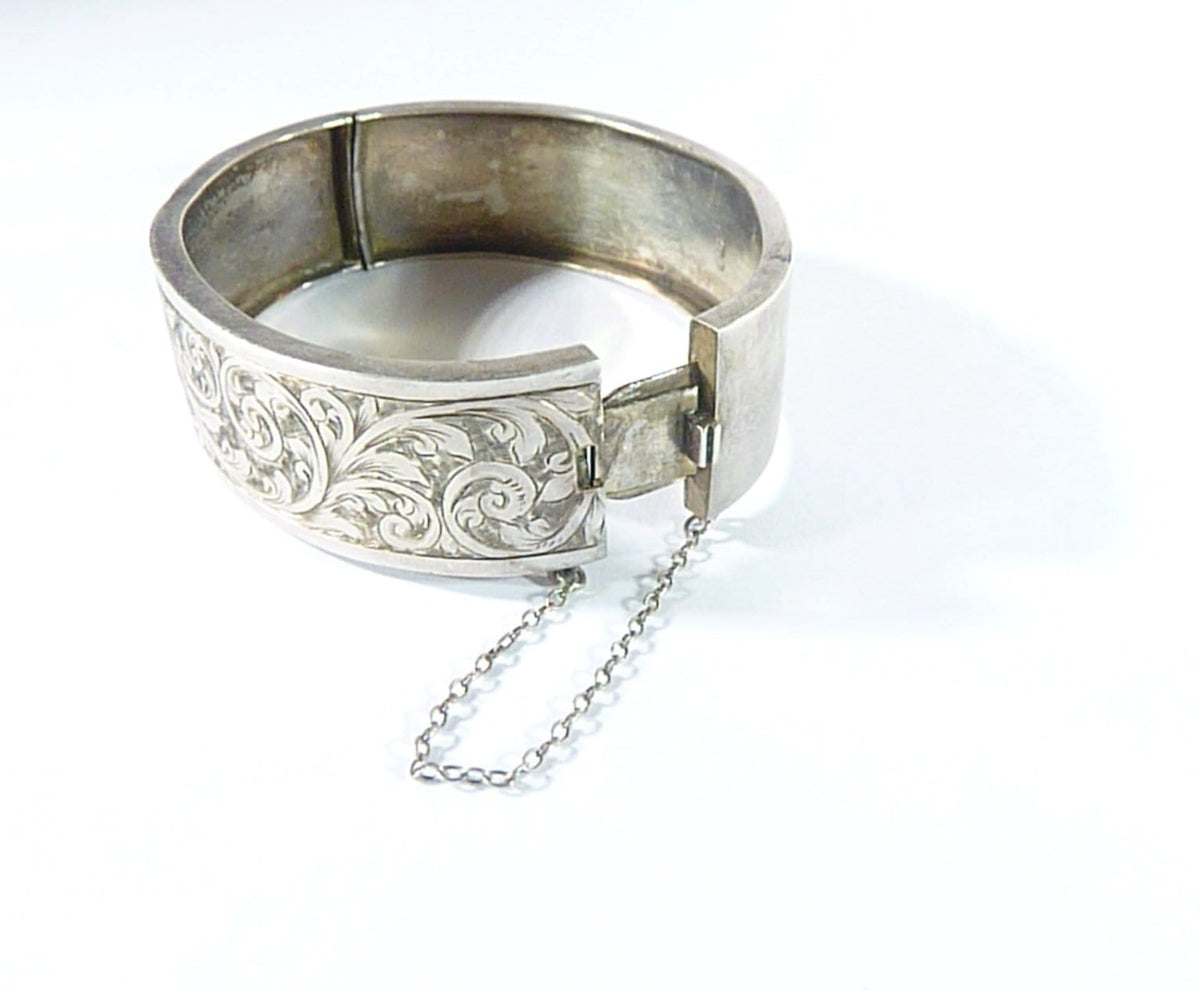Victorian Sterling Silver Cuff Bangle With Safety Chain