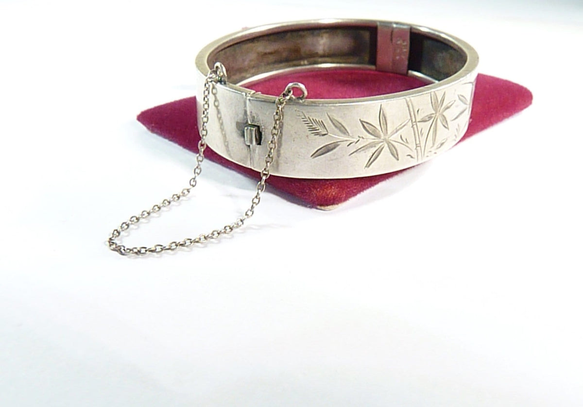 Victorian sterling silver bracelet bamboo and swallow