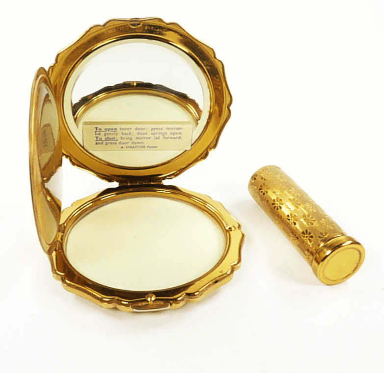 Vintage Lipstick With Matching Handbag Compact Mirror