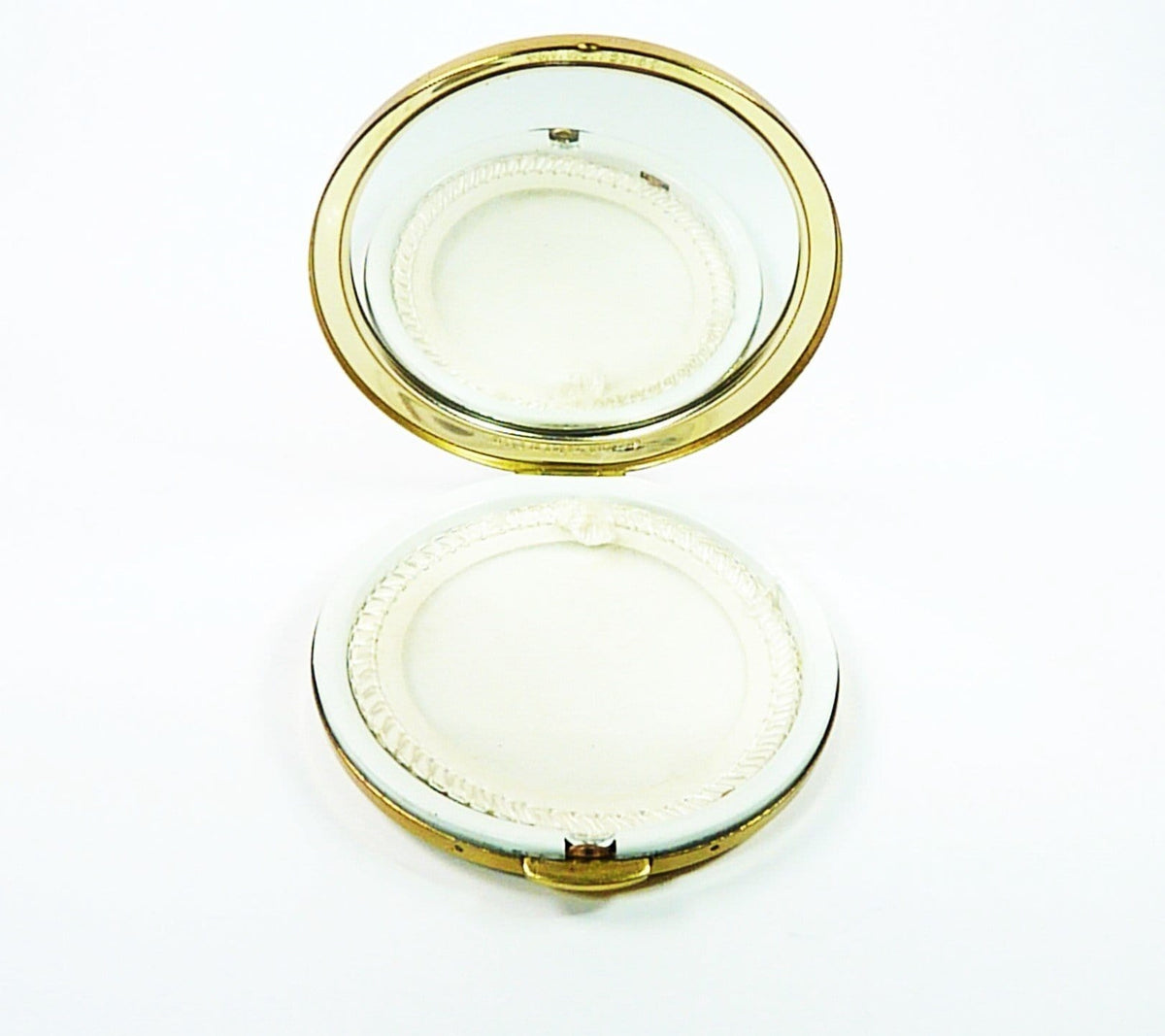 Vintage Loose Powder Compact With Enamel Lid