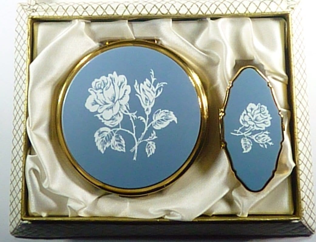 Vintage Compact And Lipstick Case Holder