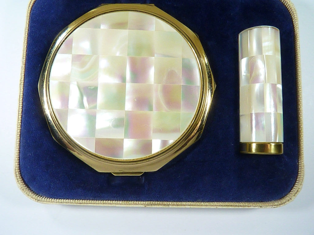 Vintage Compact And Lipstick Tube Set