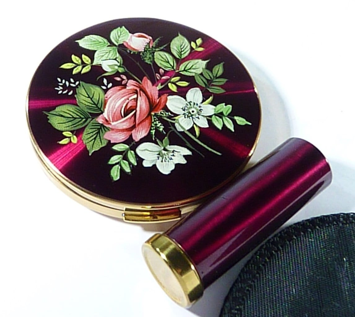 Vintage Compact And Lipstick Case Unused Regent Of London Set 1950s