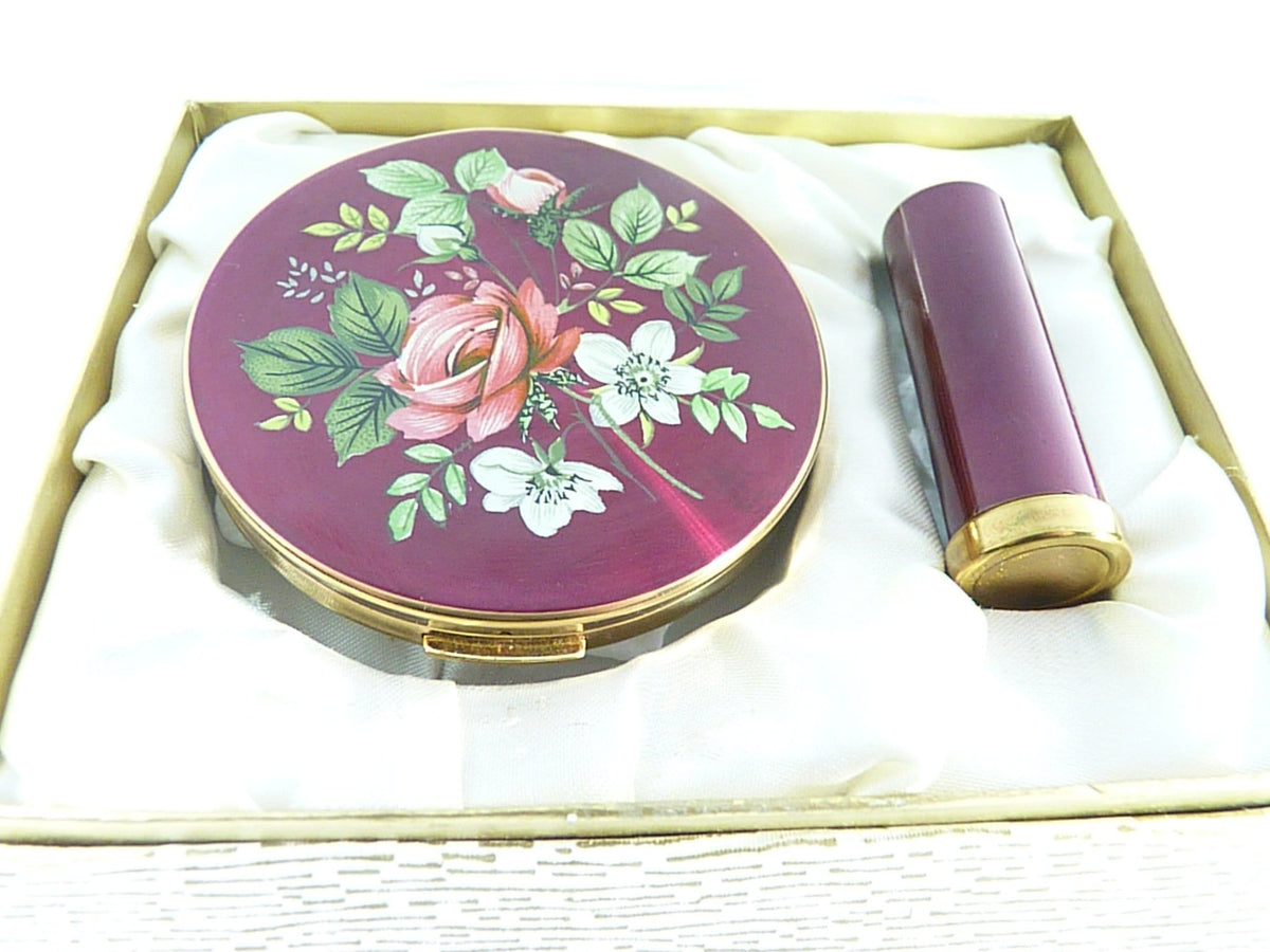 Vintage Enamel Compact And Lipstick Tube