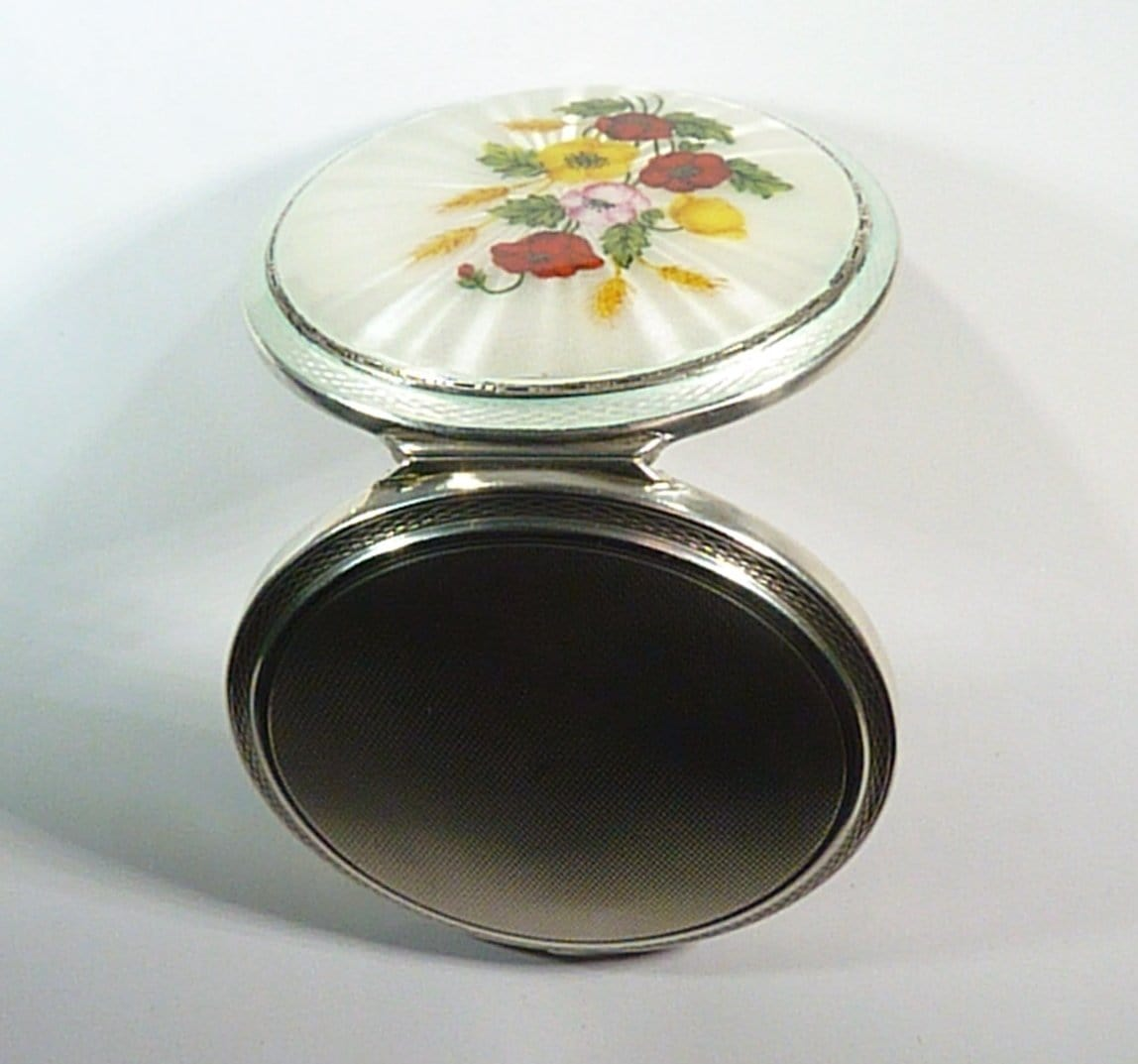 Vintage Guilloche Powder Compact