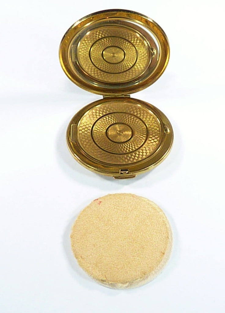 Vintage Loose Powder Compact With Original Puff And Sifter Gauze