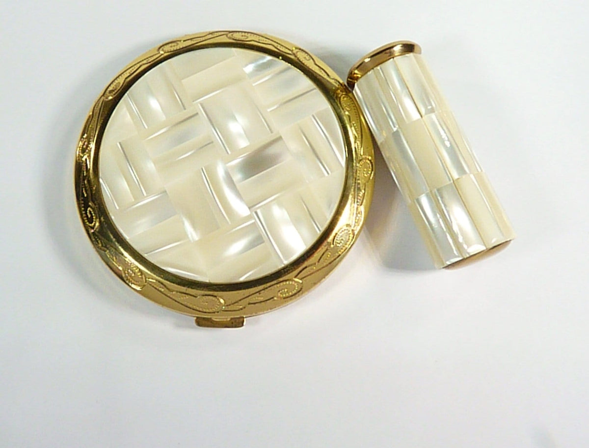 Vintage Mother Of Pearl Compact Mirror & Matching Lipstick