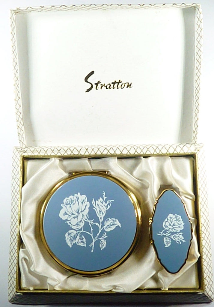 Vintage Stratton Compact And Lipstick Mirror Set