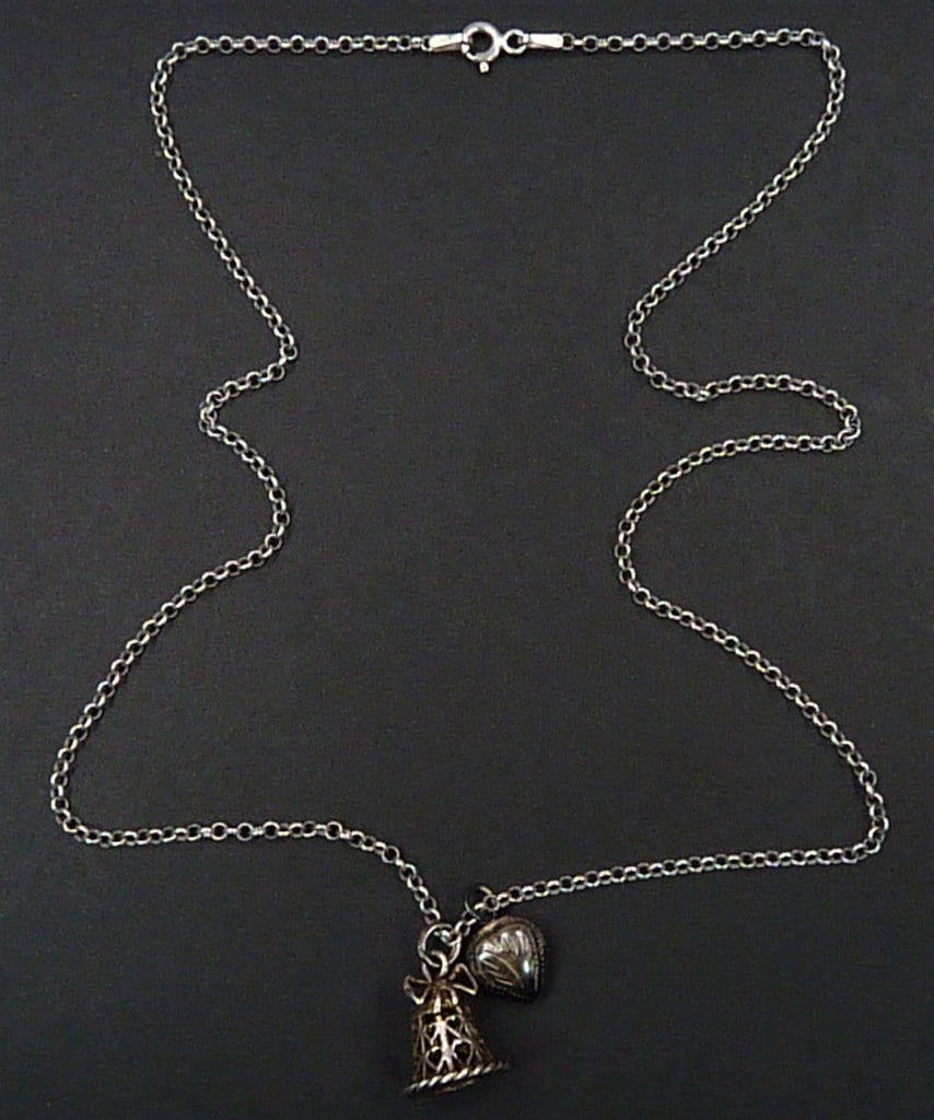 Wedding Bell And Black Heart Pendant Necklace