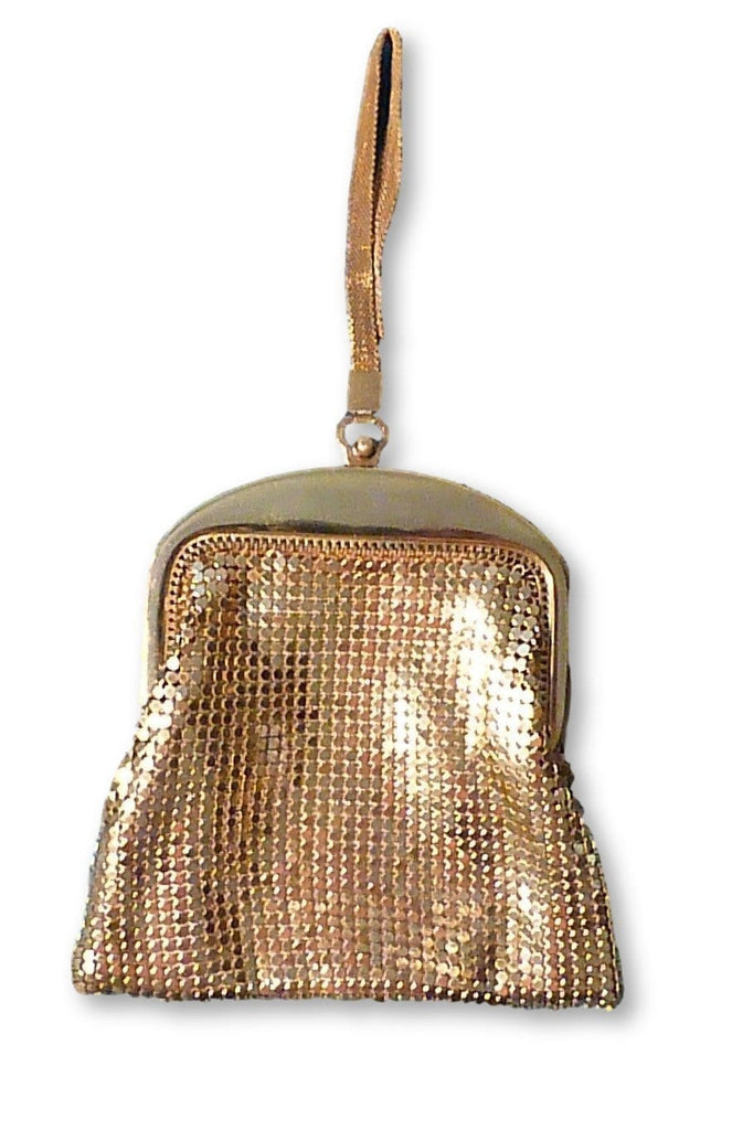 Art Deco Whiting & Davis mesh purse gold tone mesh bag 1930s - The Vintage Compact Shop