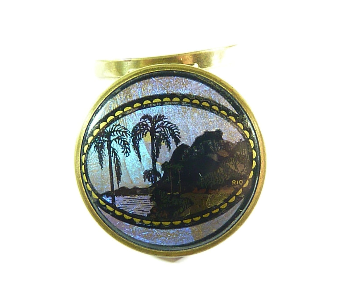 antique butterfly wing Coty Rio compact mirror