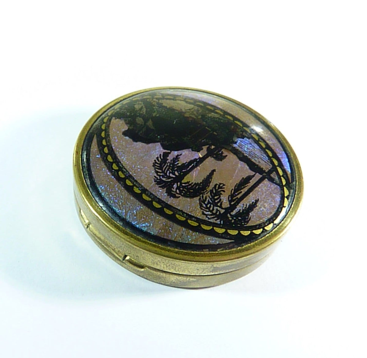 Antique Butterfly Wing Blue Morpho (Morpho Peleides) Powder Compact 1930s