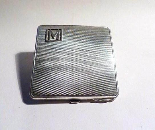 Monogram M gifts for her 1942 sterling silver compact Crisford & Norris silver gifts