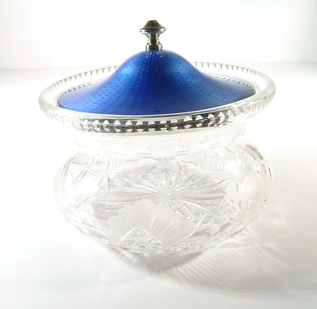antique crystal and silver guilloche powder bowl