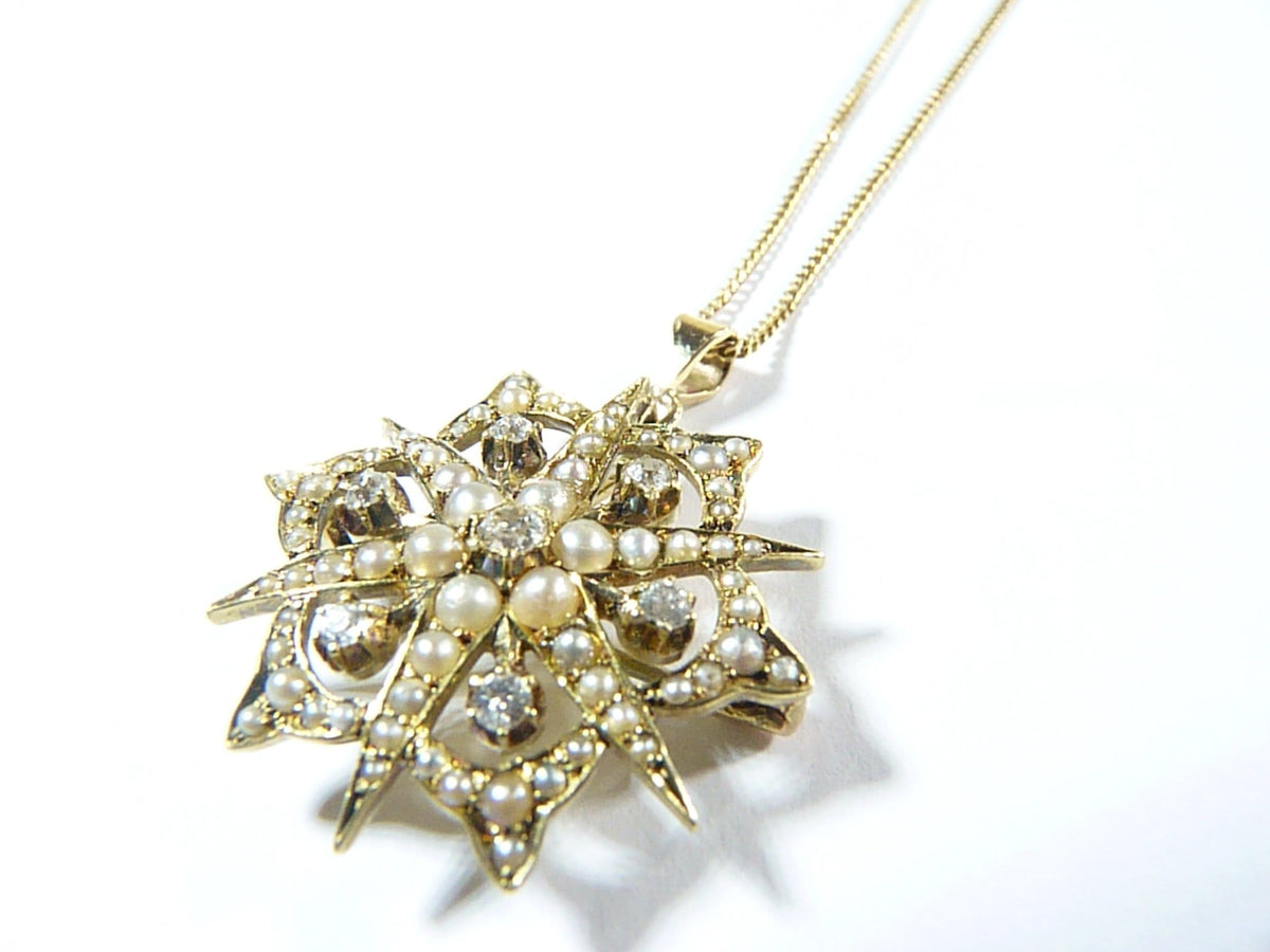 Victorian 15ct Gold Diamond And Seed Pearl Pendant Antique Gold 1800s Celestial Jewellery / Jewelry Gold Necklaces