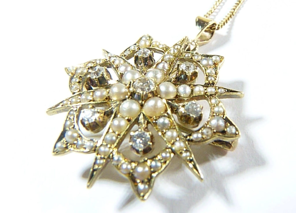 Antique Gold Diamond And Pearl Pendant And Necklace