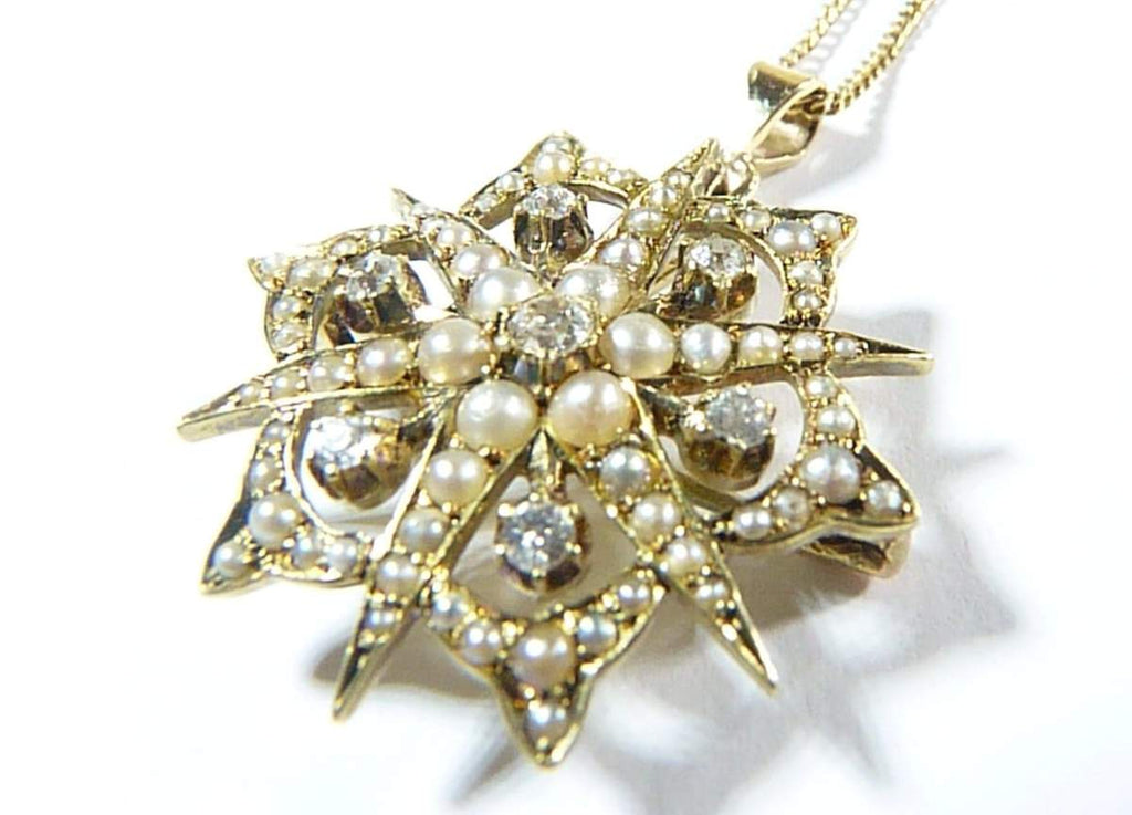 Antique Gold Diamond Pearl Pendant And Necklace