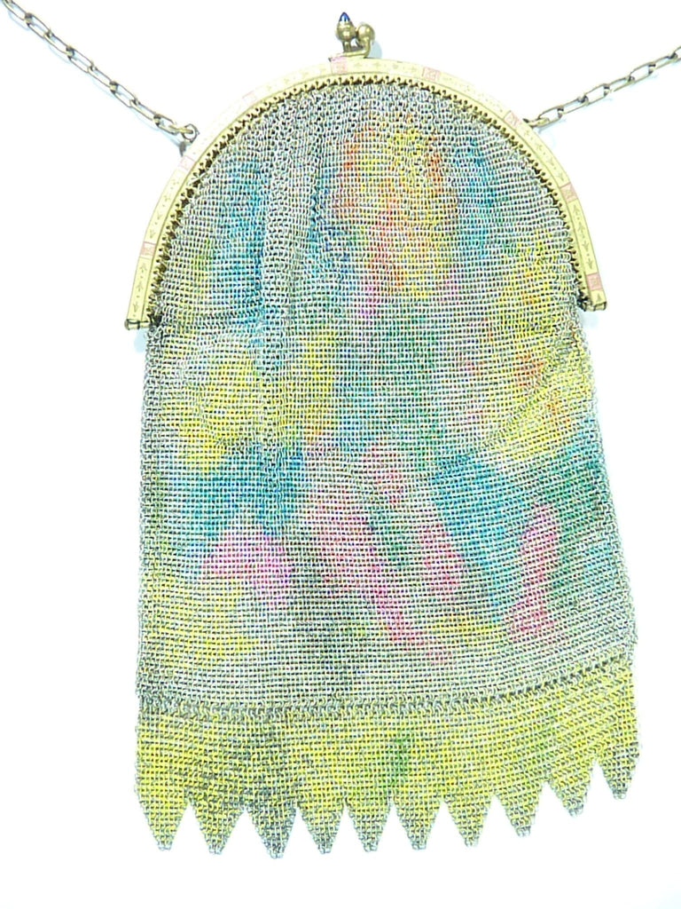 antique mesh purse pink blue yellow enamel
