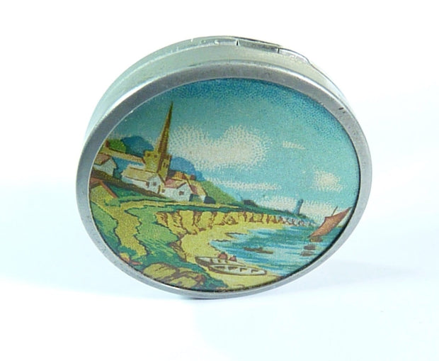 antique powder compact English coastal scene