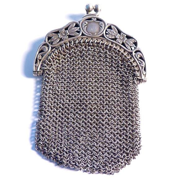 Antique silver chatelaine purse 25th anniversary gifts for her solid silver bags and purses - The Vintage Compact Shop