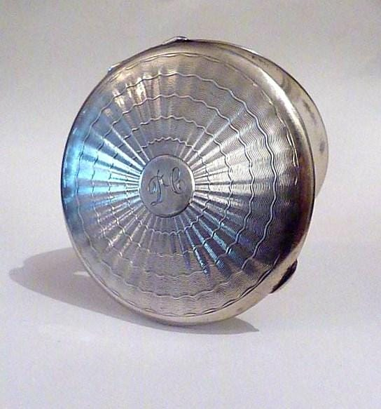 antique silver powder compacts