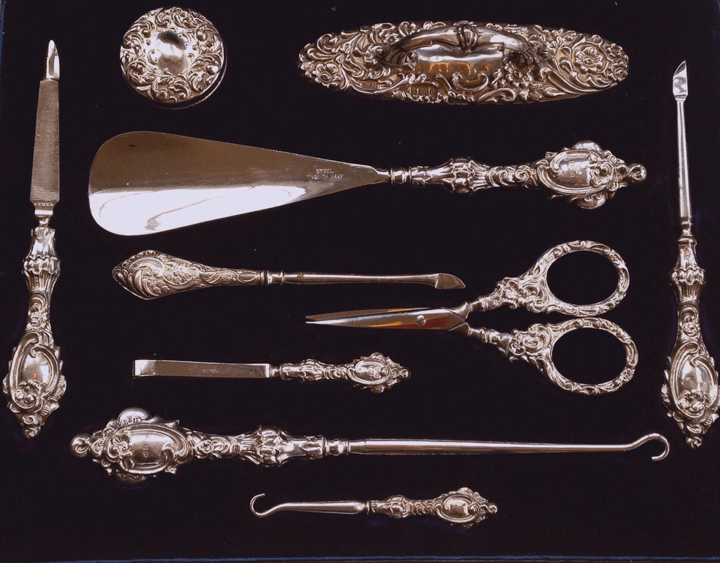 antique silver vanity sets