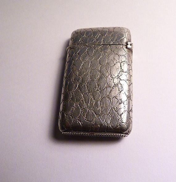 Antique silver vesta case with gilt highlights