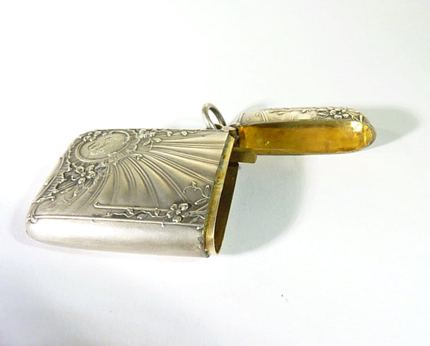 Art Nouveau Vesta Case Antique Silver Continental Silver Smoking Accessory
