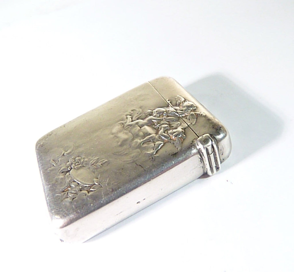 antique solid silver vesta case cherubs