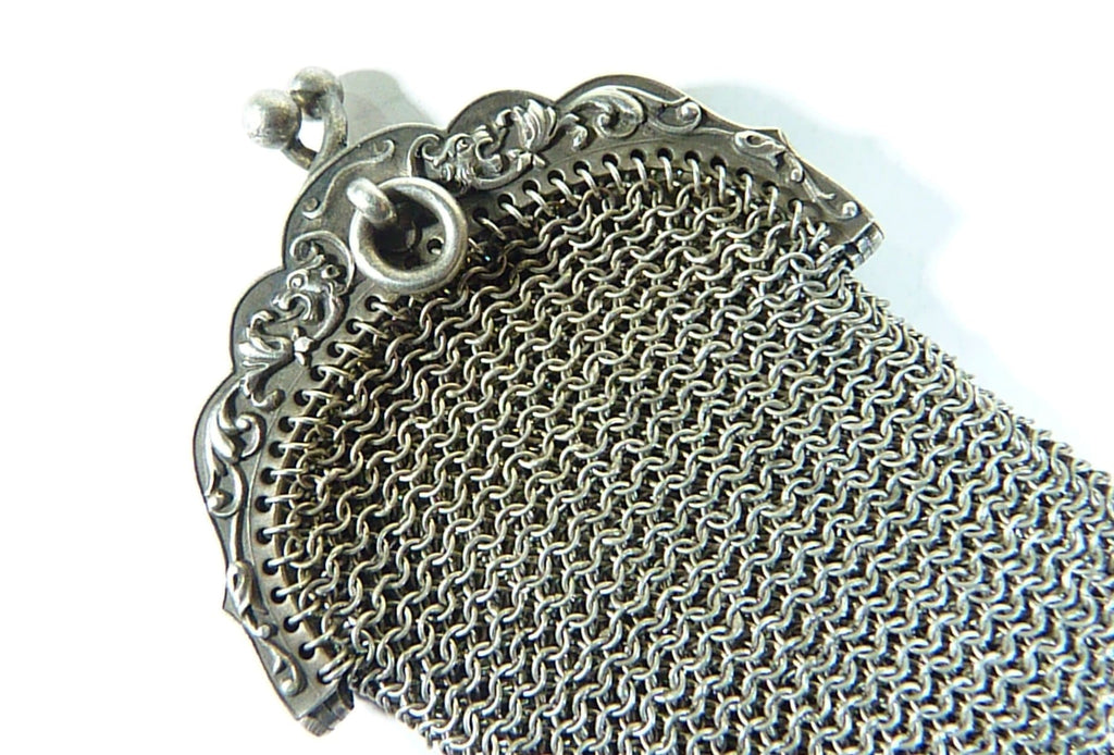 antique sterling silver hallmarked mesh purse