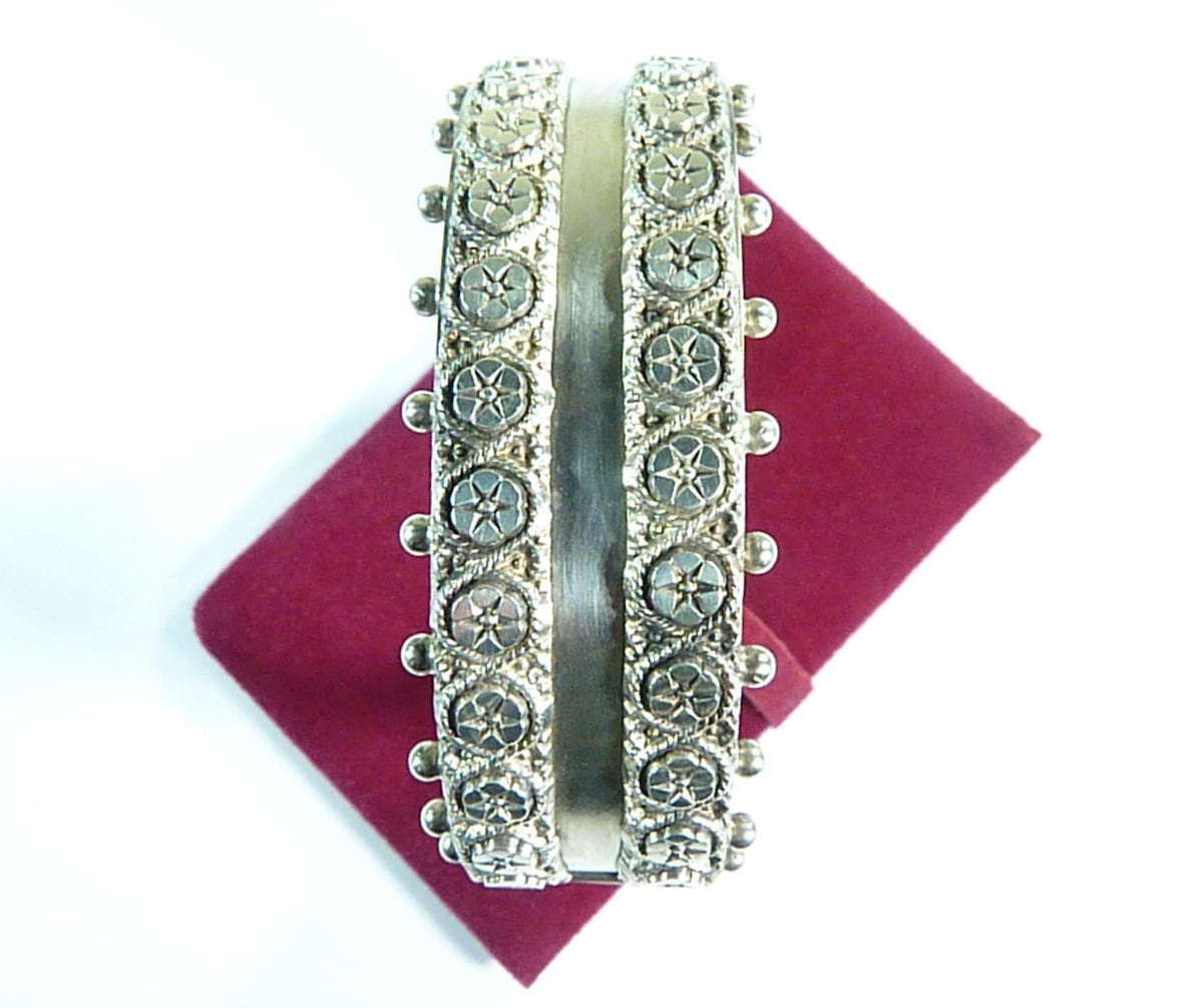 authentic hallmarked Victorian sterling silver cuff bracelet film props