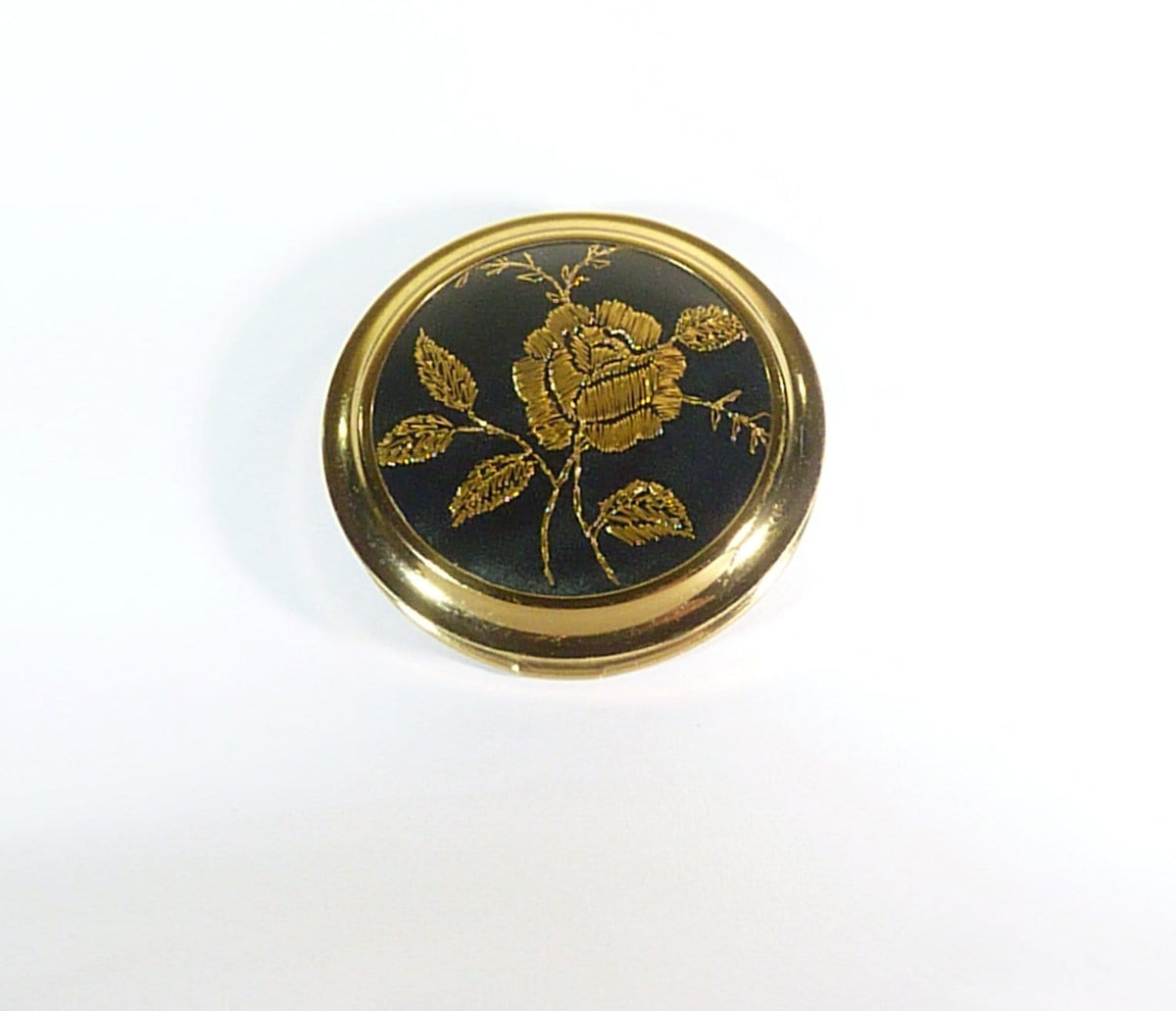 black and gold vintage compact mirror