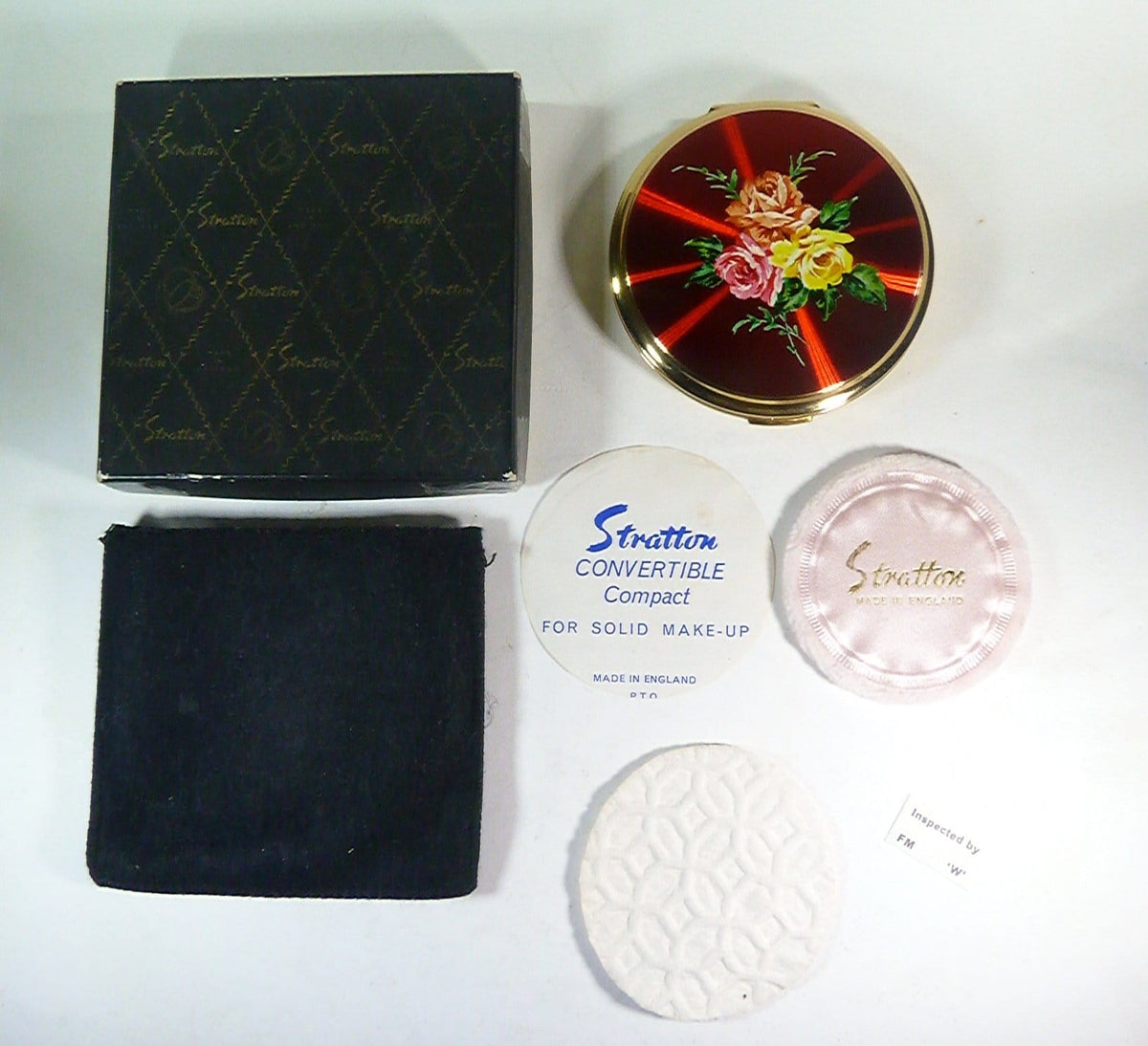 boxed complete vintage stratton powder compacts