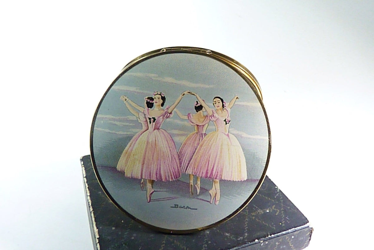 boxed stratton ballet powder compact