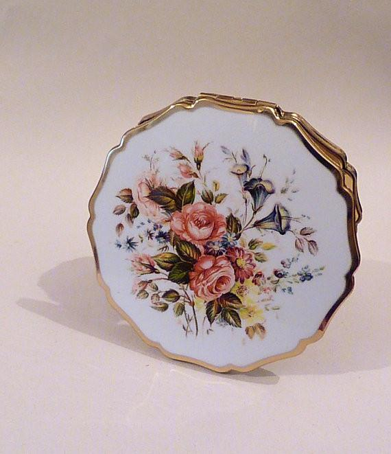 Vintage compact mirrors enamel Stratton 'Princess' powder compact bridesmaids gifts weddings - The Vintage Compact Shop