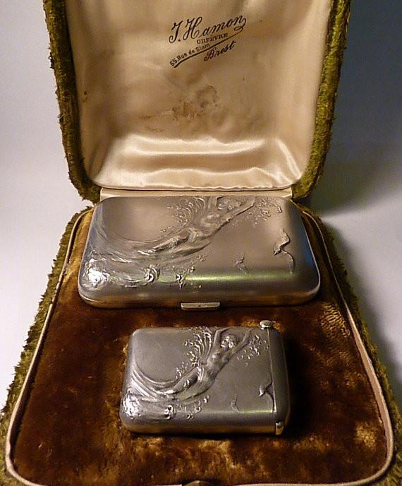 Antique silver cigarette cases NUDES Charles Murat cased cigarette and vesta cases antique silver gifts - The Vintage Compact Shop