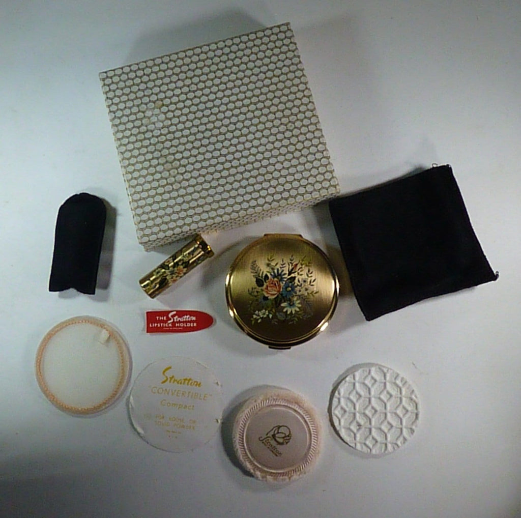 complete boxed Stratton compact and lipstick holder set