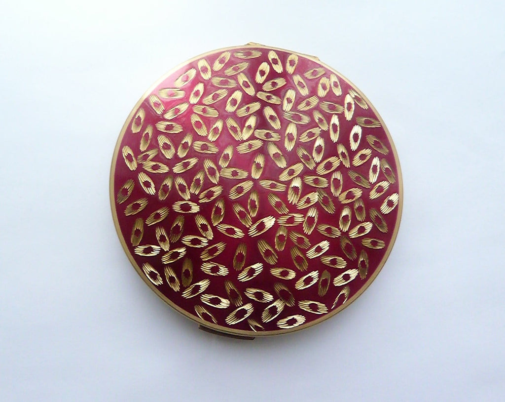 crimson and gold enamel powder compact