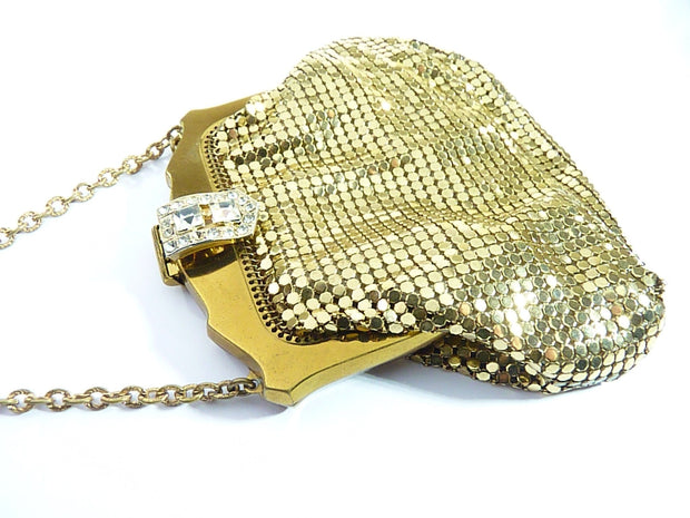 Rhinestone Set Whiting & Davis Purses Vintage Gold Mesh Bags 1940s