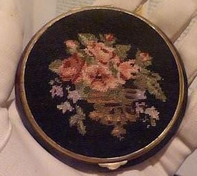 Vintage Petit Point & Celluloid Powder Compact 1930s old compacts antique compact mirrors gifts for her