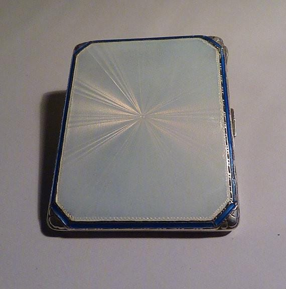 Guilloche cigarette / business card cases Adie Bros sterling silver enamel cigarette case ART DECO - The Vintage Compact Shop