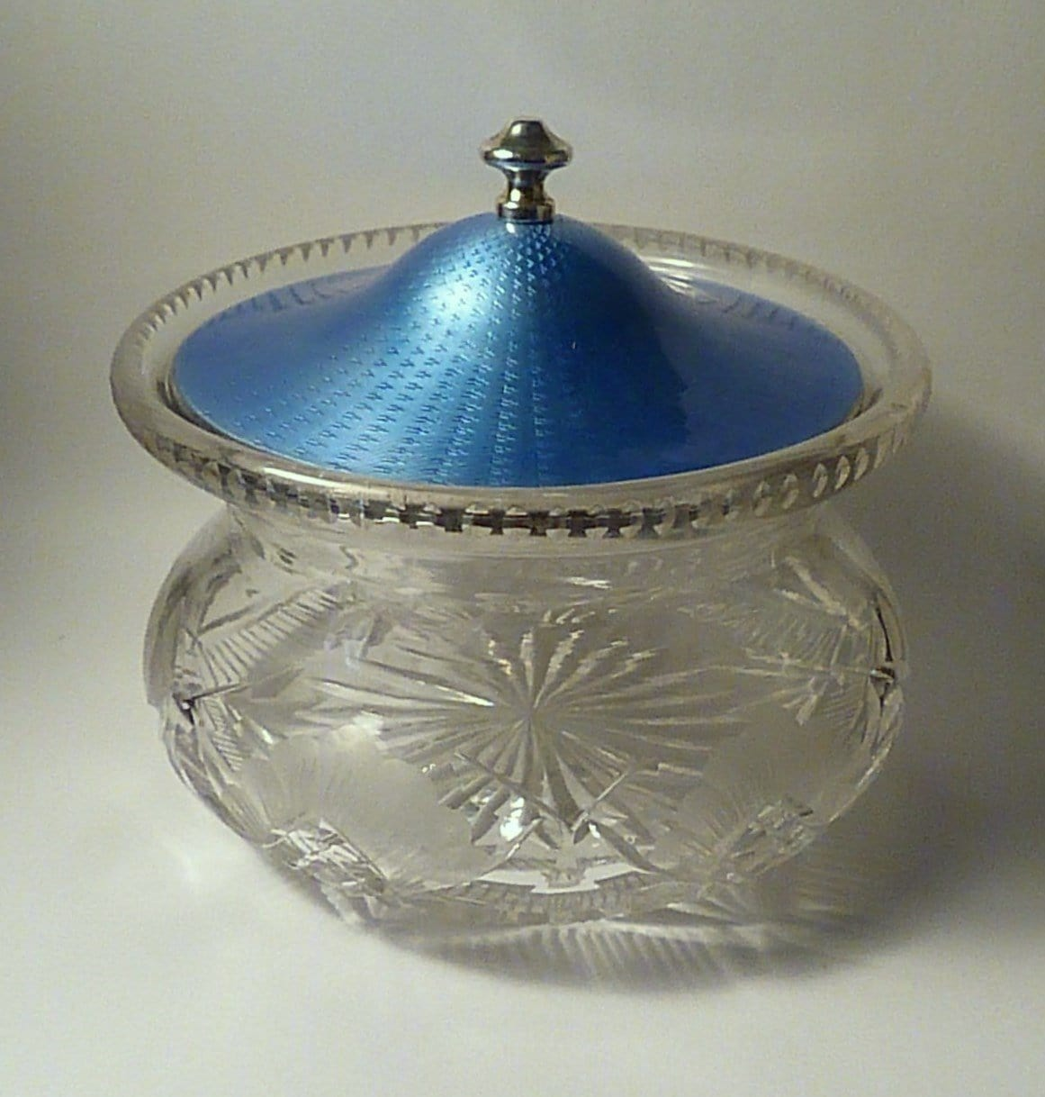 Antique silver gifts for her Art Deco large blue guilloche powder bowl 1930